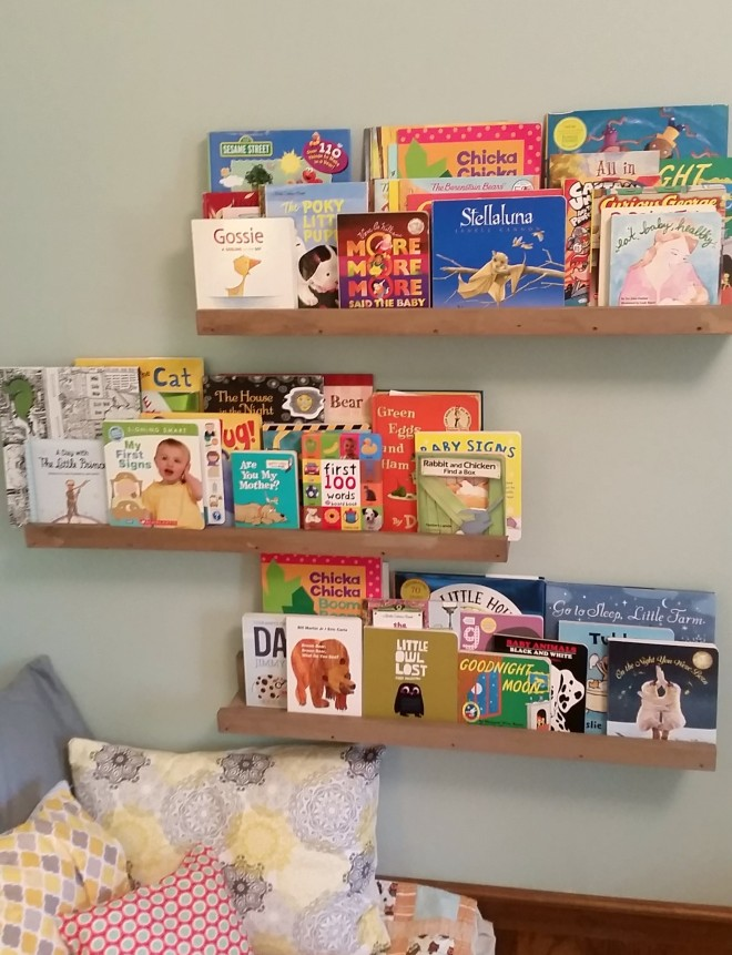 DIY book ledge for baby's room