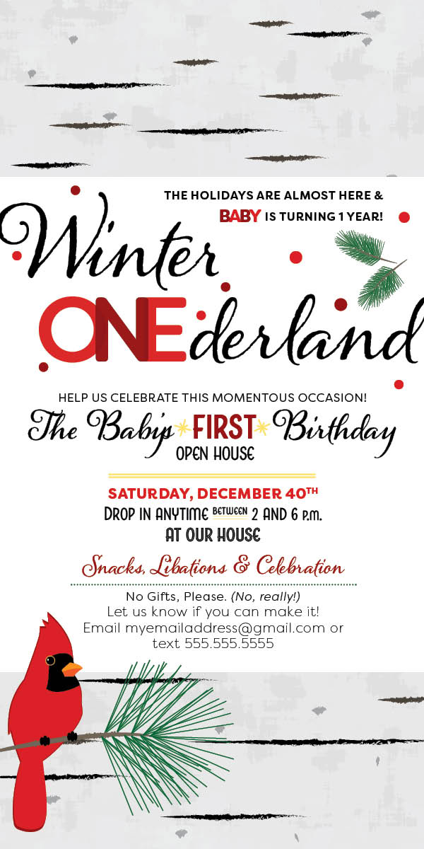 Winter Onederland invitation
