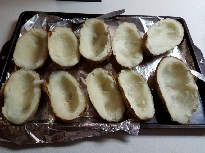 Hollowed baked potatoes